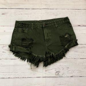 Pants - LITZ boho festival shorts with raw frayed hem
